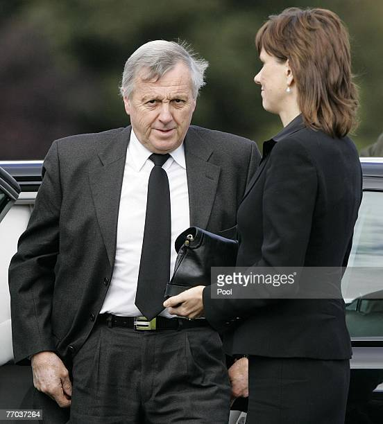 Colin McRae's father Jimmy and wife Alison arrive for the funeral of Colin McRae and son Johnny at East Chapel, Daldowie Crematorium on September 26,...