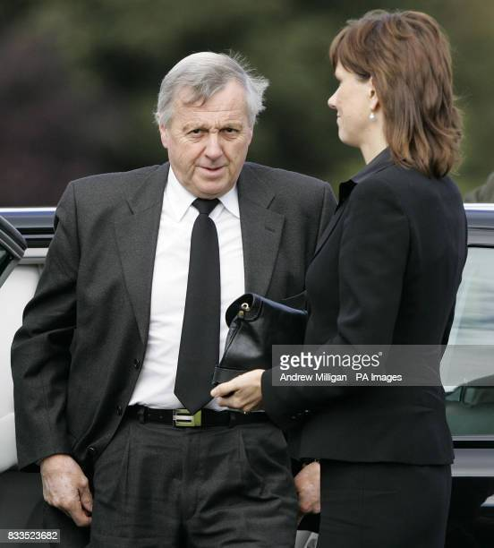 Colin McRae's father, Jimmy, and wife Alison arriving for the funeral of Colin McRae and son Johnny at East Chapel, Daldowie Crematorium.