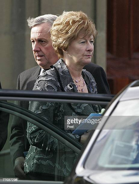 Colin McRae's parents, Jimmy McRae and Margaret McRae, leave the funeral of Colin McRae and son Johnny at East Chapel, Daldowie Crematorium on...