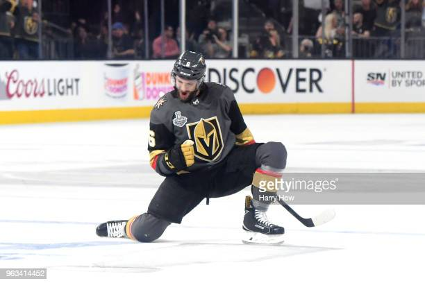 Colin Miller of the Vegas Golden Knights celebrates his firstperiod goal against the Washington Capitals in Game One of the 2018 NHL Stanley Cup...