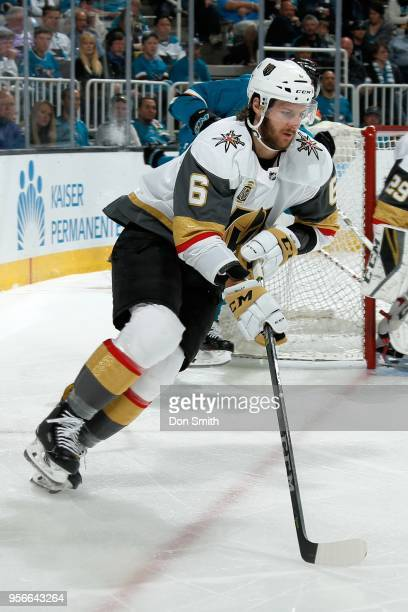 Colin Miller of the Vegas Golden Knights skates in Game Six of the Western Conference Second Round against the against the San Jose Sharks during the...