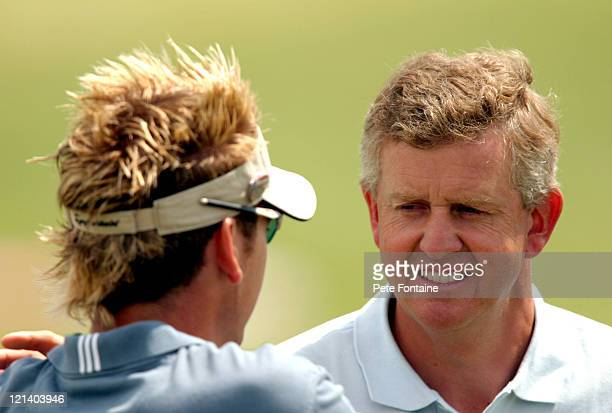 Colin Montgomerie and Ian Poulter talk before the final round of the Wales Celtic Manor Open June 6 2004