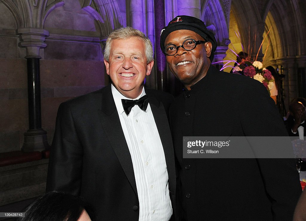 Colin Montgomerie and Samuel L Jackson attend the FitFlop Shooting Stars Benefit closing ball at the Royal Courts of Justice. The event was hosted by Samuel L Jackson to raise money for Make-A-Wish Foundation UK at Royal Courts of Justice, Strand on August 5, 2011 in London, England.