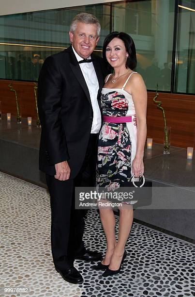 Colin Montgomerie and wife Gaynor arrive at the 2010 Tour Dinner prior to the BMW PGA Championship on the West Course at Wentworth on May 18, 2010 in...