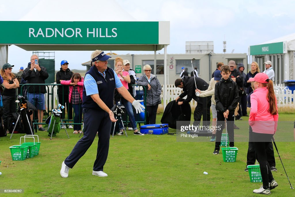 Colin Montgomerie gives a Radnor Hills Masterclass clinic with junior golfers ahead of the Senior Open Championship played at Royal Porthcawl Golf Club on July 26, 2017 in Bridgend, Wales.
