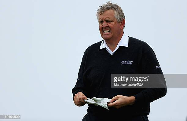 Colin Montgomerie looks on during The Open Championship Local Final Qualifying at Gullane golf course on July 2 2013 in Gullane Scotland