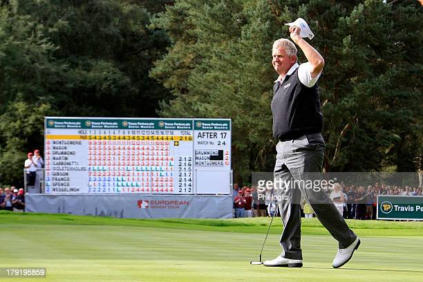 Colin Montgomerie of Scotland acknowledges the crowd after the final round of the Travis Perkins plc Senior Masters played on the Duke's Course...
