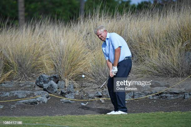 KA'UPULEHUKONA HI JANUARY 19 Colin Montgomerie of Scotland chips from the cart path on the 7th hole during the final round of the PGA TOUR Champions...