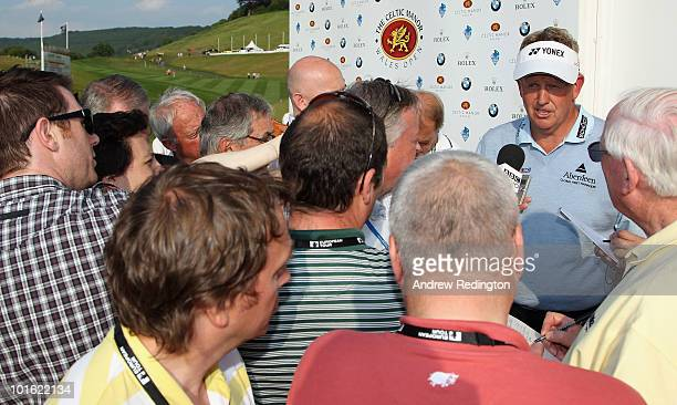 Colin Montgomerie of Scotland faces the media after completing his second round of the Celtic Manor Wales Open on The Twenty Ten Course at The Celtic...
