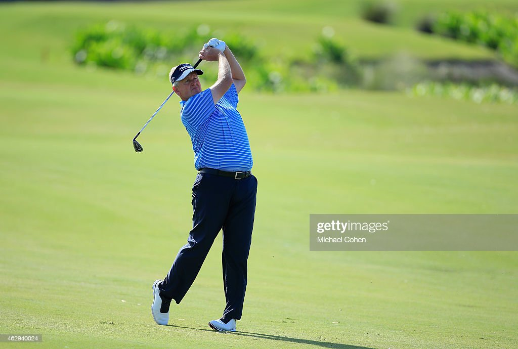 Colin Montgomerie of Scotland hits a shot from the fairway during the second round of the Allianz Championship held at The Old Course at Broken Sound on February 7, 2015 in Boca Raton, Florida.