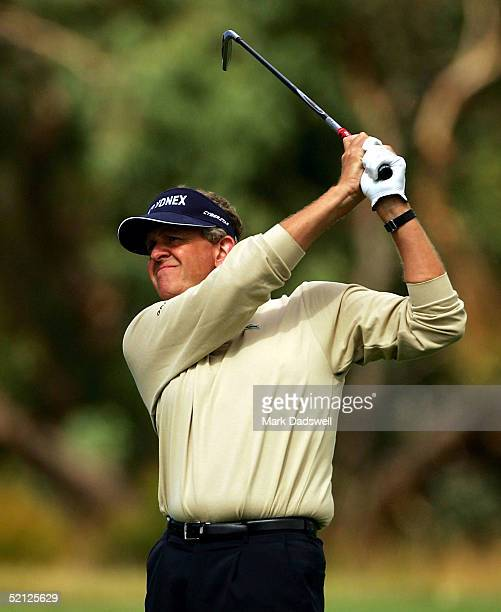 Colin Montgomerie of Scotland hits his approach shot on the fourth hole during day one of the 2005 Heineken Classic at the Royal Melbourne Golf Club...