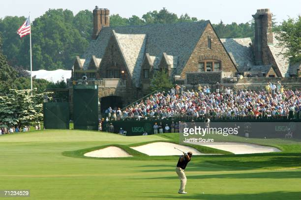 Colin Montgomerie of Scotland hits his approach shot on the ninth hole during the final round of the 2006 US Open Championship at Winged Foot Golf...
