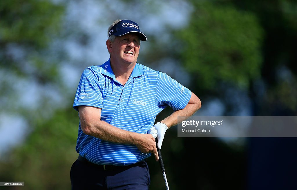 Colin Montgomerie of Scotland hits his drive on the 11th hole during the second round of the Allianz Championship held at The Old Course at Broken Sound on February 7, 2015 in Boca Raton, Florida.