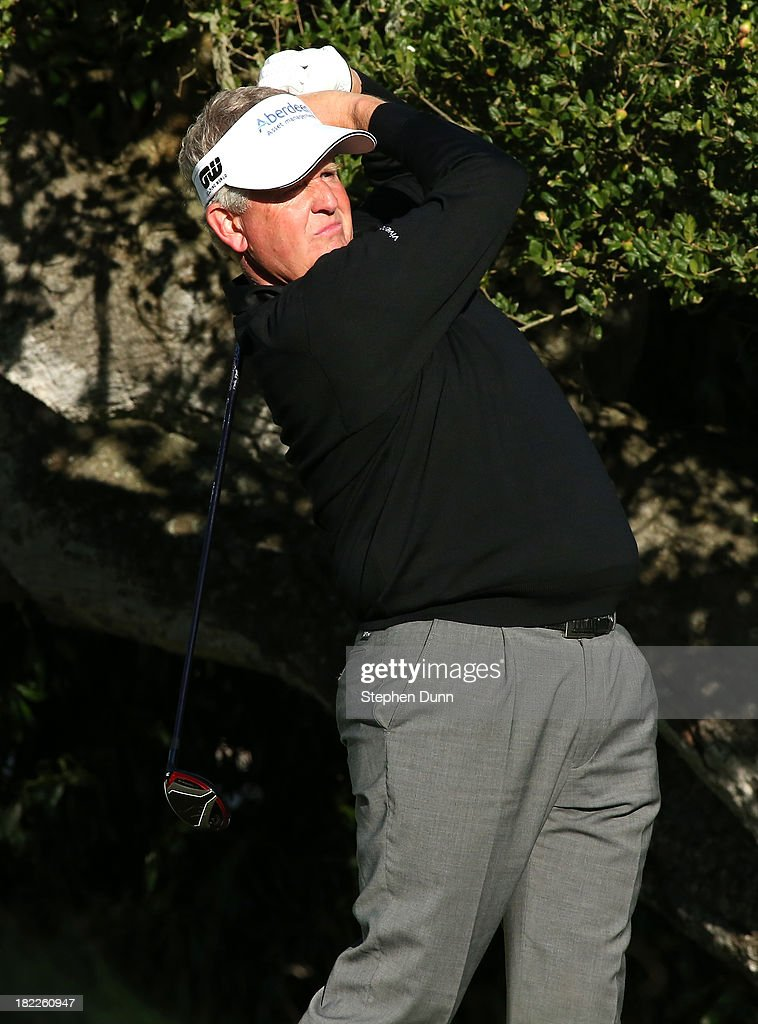 Colin Montgomerie of Scotland hits his tee shot on the 16th hole durng the second round of the Nature Valley First Tee Open at Pebble Beach at Pebble Beach Golf Links on September 28, 2013 in Pebble Beach, California.