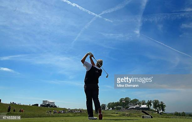 Colin Montgomerie of Scotland hits his tee shot on the 17th hole during the third round of the 2015 Senior PGA Championship Presented By KitchenAid...