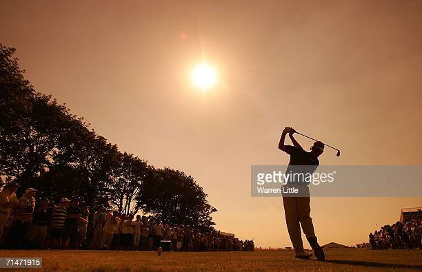 Colin Montgomerie of Scotland hits his tee shot on the fourth hole during practice for The Open Championship at Royal Liverpool Golf Club on July 18,...