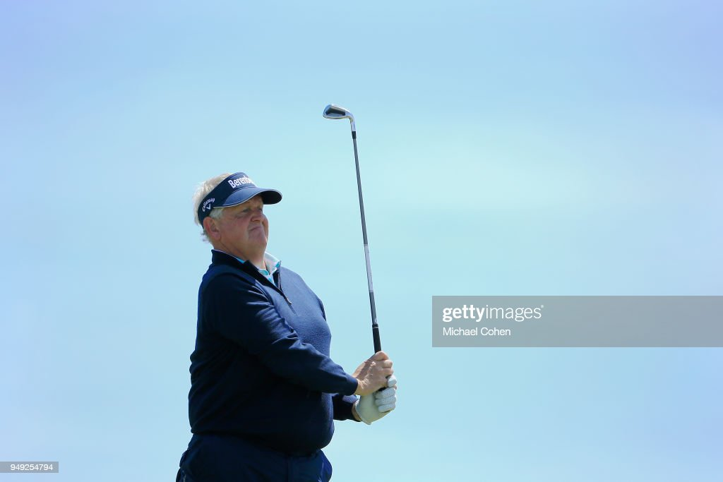Colin Montgomerie of Scotland hits his tee shot on the ninth hole during the second round of the PGA TOUR Champions Bass Pro Shops Legends of Golf at Big Cedar Lodge held at Top of the Rock on April 20, 2018 in Ridgedale, Missouri.