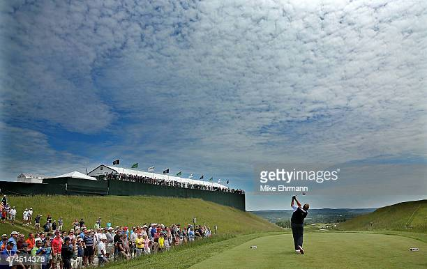 Colin Montgomerie of Scotland hits his tee shot on the second hole during the third round of the 2015 Senior PGA Championship Presented By KitchenAid...