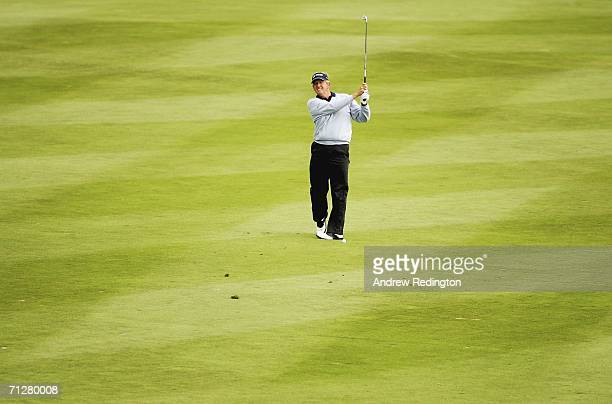 Colin Montgomerie of Scotland hits his third shot on the 17th hole during the second round of The Johnnie Walker Championship on The PGA Centenary...
