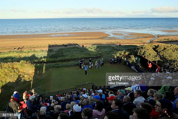 Colin Montgomerie of Scotland hits the opening tee shot on the 1st hole during the first round on day one of the 145th Open Championship at Royal...