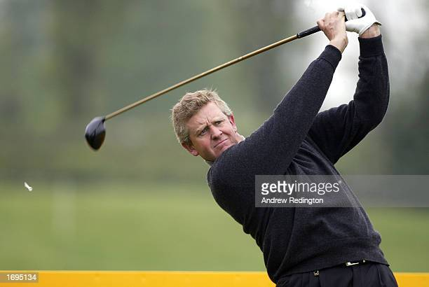 Colin Montgomerie of Scotland in action during a practice round prior to the Benson and Hedges International Open held on May 7 2002 at the Belfy in...