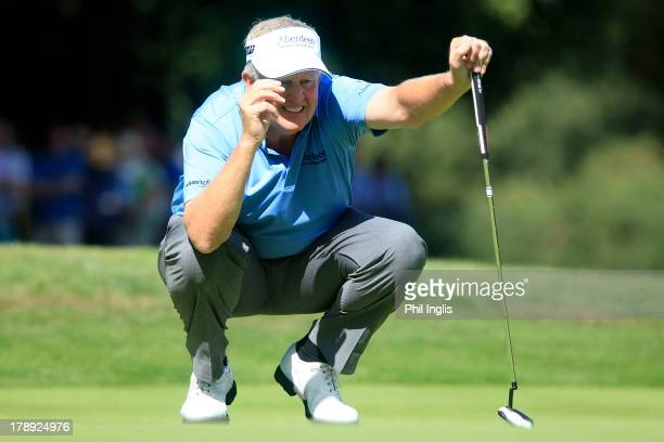 Colin Montgomerie of Scotland in action on the 3rd hole during the second round of the Travis Perkins plc Senior Masters played on the Duke's Course...