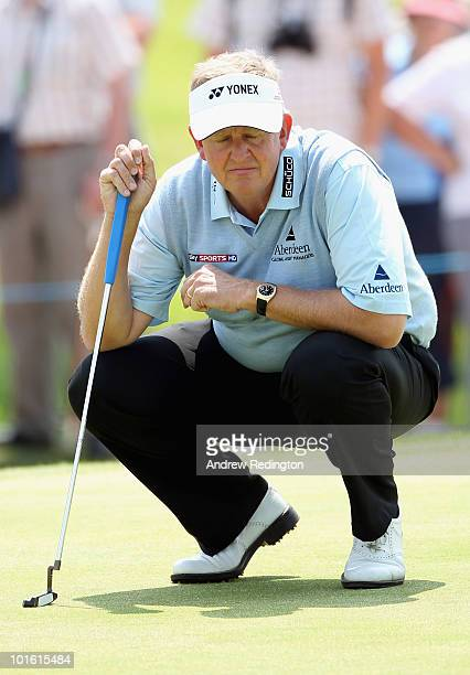 Colin Montgomerie of Scotland in action on the first hole during the second round of the Celtic Manor Wales Open on The Twenty Ten Course at The...