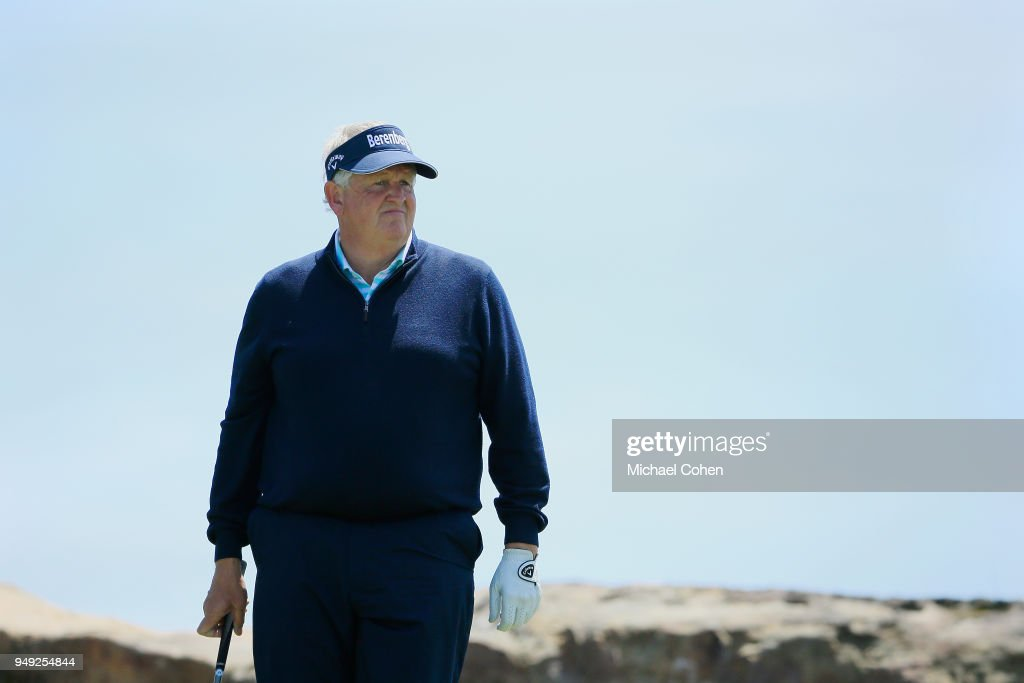 Colin Montgomerie of Scotland looks on during the second round of the PGA TOUR Champions Bass Pro Shops Legends of Golf at Big Cedar Lodge held at Top of the Rock on April 20, 2018 in Ridgedale, Missouri.
