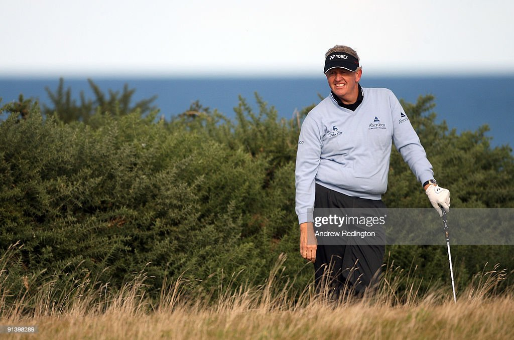 Colin Montgomerie of Scotland looks on during the third round of The Alfred Dunhill Links Championship at Kingsbarns Golf Links on October 4, 2009 in Kingsbarns, Scotland.The third round was postponed on Saturday due to gale force winds.