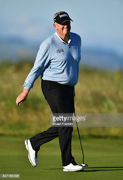 Colin Montgomerie of Scotland looks on from the 2nd green during the first round on day one of the 145th Open Championship at Royal Troon on July 14...