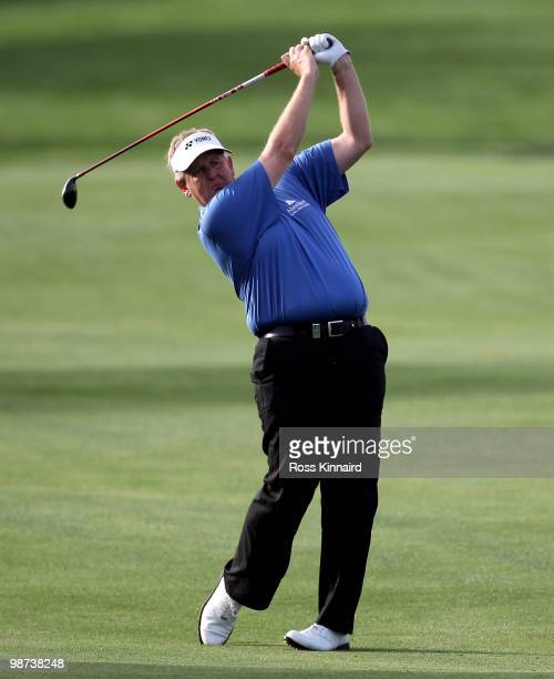 Colin Montgomerie of Scotland on the par five 13th hole during the first round of the Open de Espana at the Real Club de Golf de Seville on April 29...