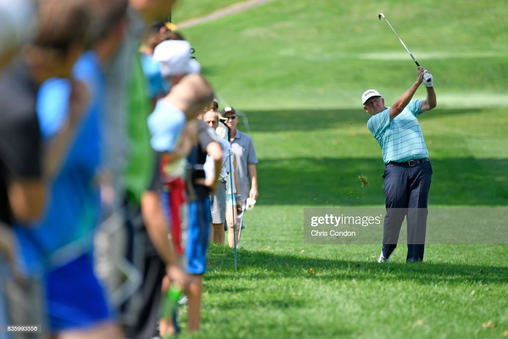 Colin Montgomerie of Scotland plays from the 6th fairway during the final round of the PGA TOUR Champions DICK'S Sporting Goods Open at En-Joie Golf Course on August 20, 2017 in Endicott, New York.