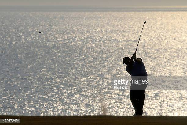Colin Montgomerie of Scotland plays his second shot on the 18th fairway during the second round of the Senior Open Championship played at Royal...