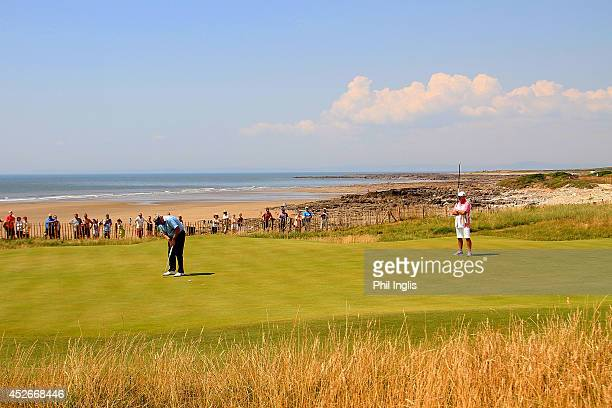Colin Montgomerie of Scotland plays the 1st hole hole during the second round of the Senior Open Championship played at Royal Porthcawl Golf Club on...