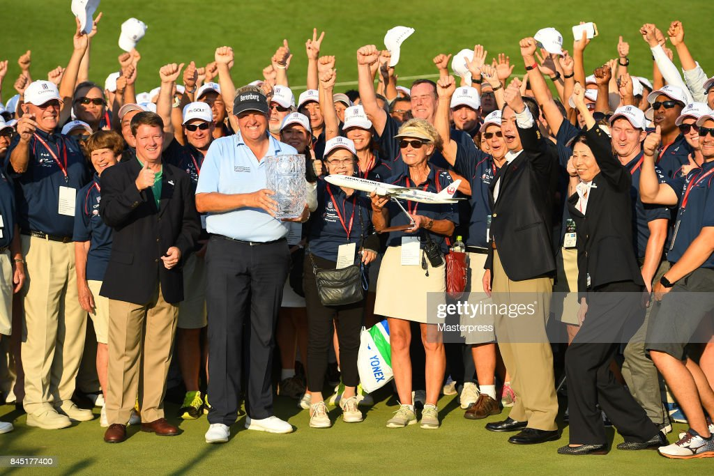 Colin Montgomerie of Scotland poses after winning the Japan Airlines Championship at Narita Golf Club-Accordia Golf on September 10, 2017 in Narita, Chiba, Japan.