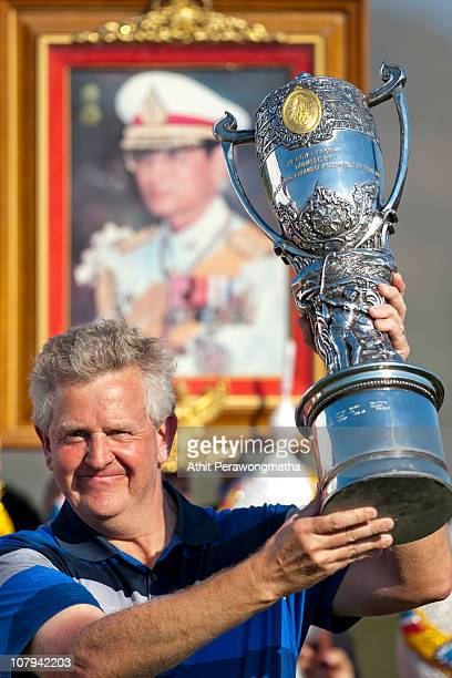 Colin Montgomerie of Scotland poses with The Royal Trophy after winning The Royal Trophy tournament at Black Mountain Golf Club on January 9 2011 in...