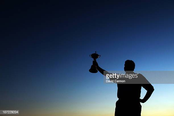 Colin Montgomerie of Scotland proudly holds the Ryder Cup that was won by Europe at Celtic Manor in Wales where Montgomerie was the captain of the...