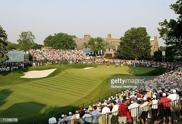 Colin Montgomerie of Scotland putts on the 18th green during the final round of the 2006 US Open Championship at Winged Foot Golf Club on June 18...