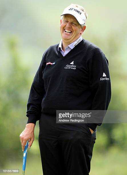 Colin Montgomerie of Scotland smiles during the Pro Am prior to the start of the Celtic Manor Wales Open on The Twenty Ten Course at The Celtic Manor...