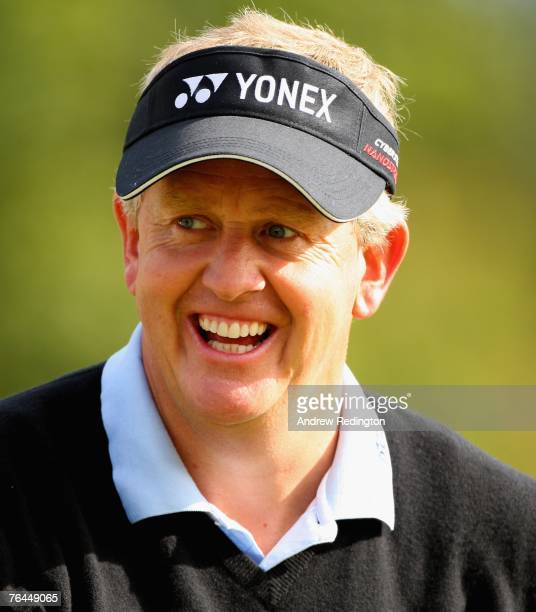 Colin Montgomerie of Scotland smiles during the third round of The Johnnie Walker Championship on The PGA Centenary Course at Gleneagles on September...