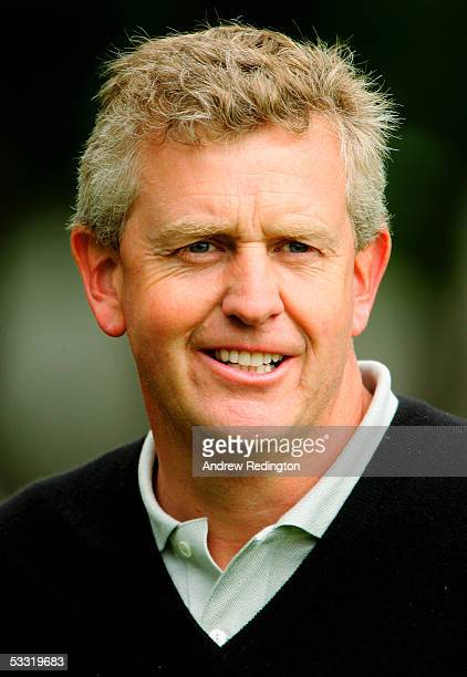 Colin Montgomerie of Scotland smiles on the first hole during the Pro-Am for the Johnnie Walker Championship at Gleneagles at the Gleneagles Hotel...