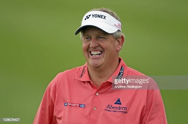 Colin Montgomerie of Scotland smiles on the ninth hole during the Pro Am prior to the start of the Johnnie Walker Championship at Gleneagles at the...