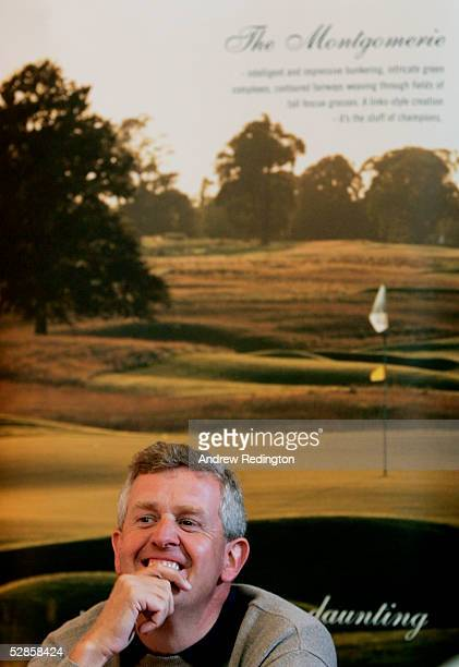 Colin Montgomerie of Scotland speaks to the media during the Nissan Irish Open ProAm to be played on The Montgomerie course at Carton House Golf Club...