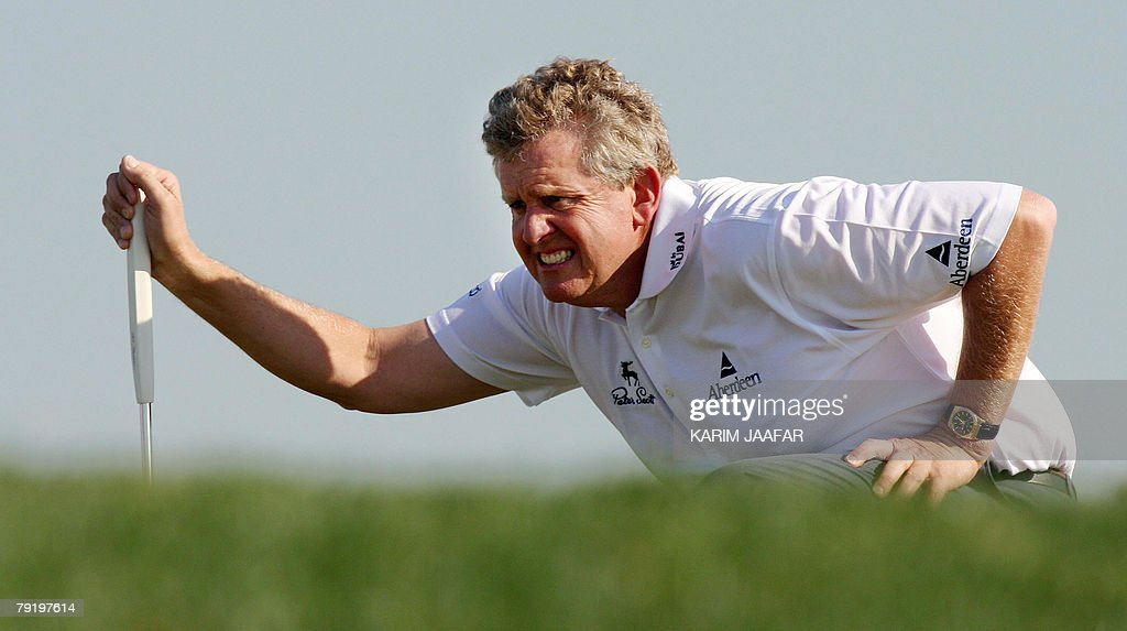 Colin Montgomerie of Scotland takes part in the Qatar Masters Golf Tournament, 24 January 2008 in Doha. The 2.5-million-dollar Qatar Masters has grown in stature over the last few years and taken its central role in what has become known as the 'Desert Swing' which includes the Abu Dhabi Golf Championship and the Dubai Desert Classic.
