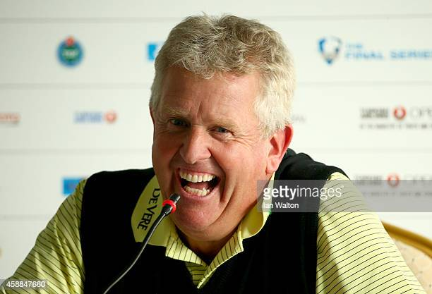 Colin Montgomerie of Scotland talks to the media during a press conference ahead of the Turkish Airlines Open at The Montgomerie Maxx Royal on...