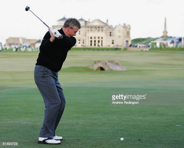 Colin Montgomerie of Scotland tees off on the 18th hole during the Hickory Challenge prior to the start of the Dunhill Links Championship at The Old...