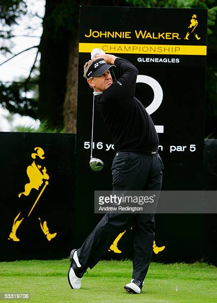 Colin Montgomerie of Scotland tees off on the second hole during the ProAm for the Johnnie Walker Championship at Gleneagles at the Gleneagles Hotel...