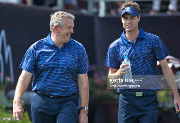 Colin Montgomerie of Scotland walks with Rhys Davies of Wales at 1st hole during day one of The Royal Trophy tournament at Black Mountain Golf Club...