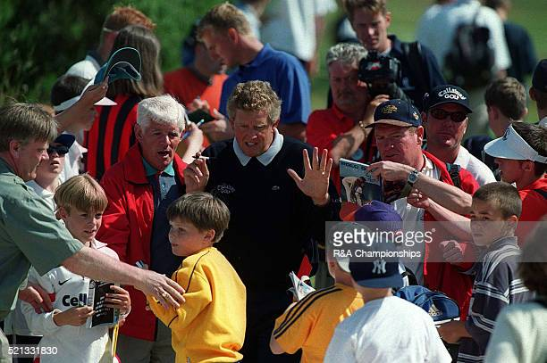 Colin Montgomerie Open Golf Carnoustie Scotland 1999 Montgomerie is mobbed by autograph hunters weby