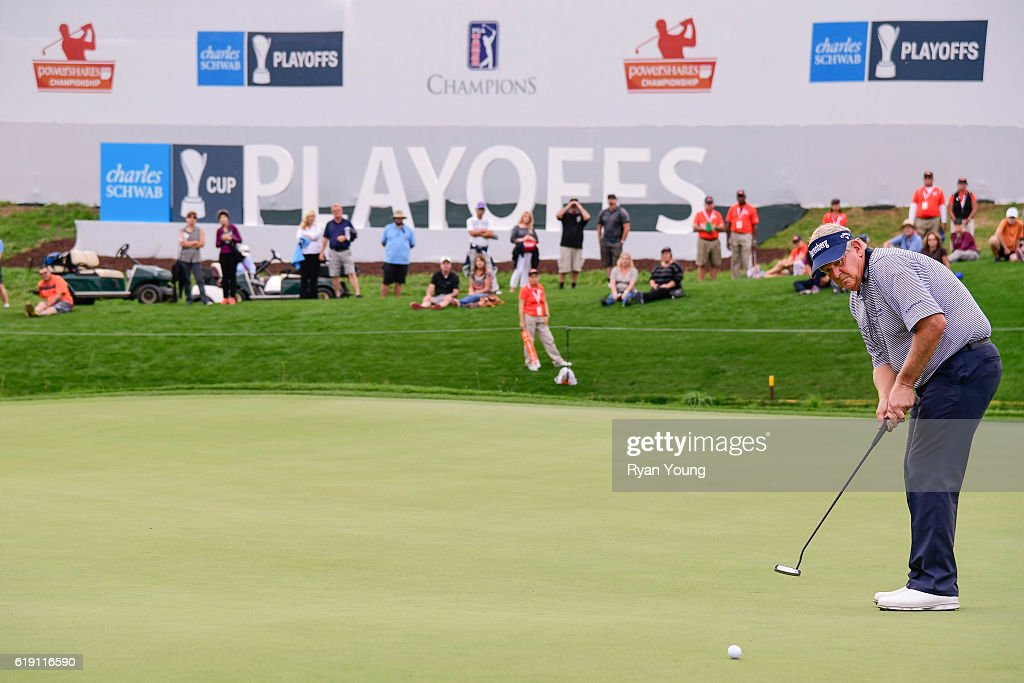 Colin Montgomerie putts on the 18th hole during the second round for the PGA TOUR Champions PowerShares QQQ Championship at Sherwood Country Club on October 29, 2016 in Thousand Oaks, California.